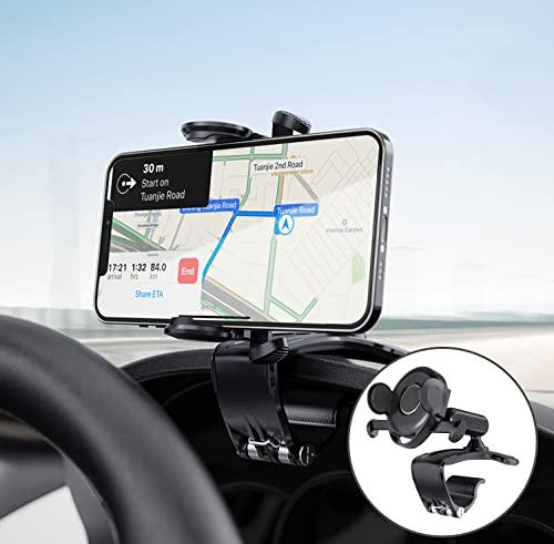 Soporte Móvil Coche, Salpicadero Porta Movil para Coche con Rotación de 360°/ Bloqueo Automático, Soporte para Movil Coche para iPhone Huawei Samsung Xiaomi