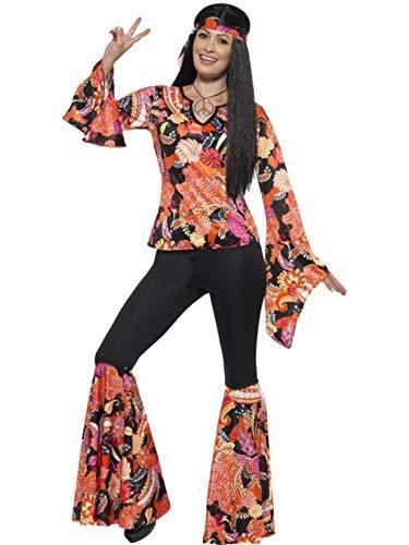 Luxuspiraten - Damen Frauen Willow Hippie Woodstock Kostüm mit Flower Power Oberteil, Schlaghose, Kopftuch und Anhänger, perfekt für Karneval, Fasching und Fastnacht, L, Orange