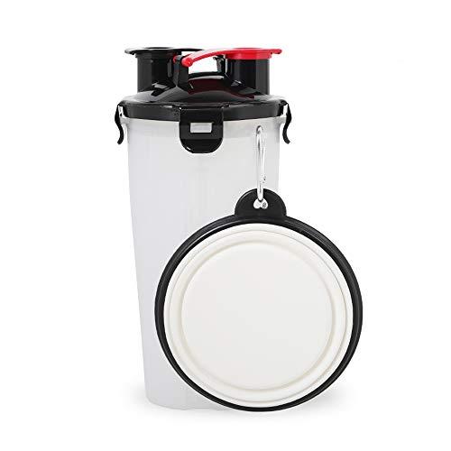 2 en 1 Multi-funcional Pet Food Water Container Perro Pet Tela plegable Viaje Alimentos Agua Bowl (Blanco)