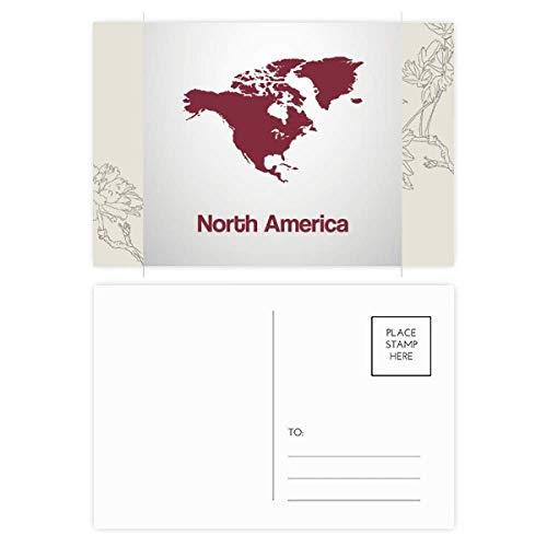 DIYthinker Noord-Amerika Continent Silhouette Kaart Bloem Postkaart Set Thanks Card Mailing Side 20 stks 5.7 inch x 3.8 inch Multi kleuren