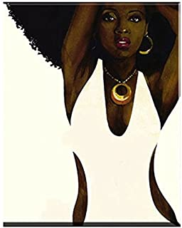 Faicai Art Black and White Wall Art African Afro Sexy Woman Canvas Prints HD Printed Abstract Portrait Printing Paintings Home Decor Art Work Pictures for Living Room Bedroom Wooden Framed 24x36inch