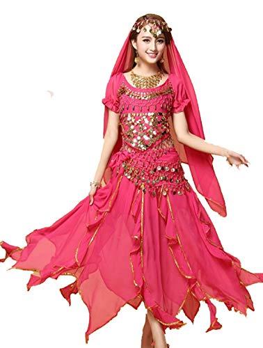 ZYLL Traje De Baile Indio De 4 Piezas, Traje De Bailarina De Bollywood para Mujer, Traje De Danza del Vientre