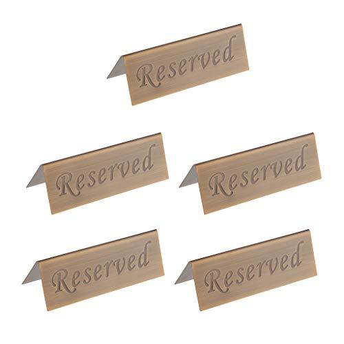LOVIVER 5 Stück Reserved Table Desk Zelt Signs Karte Für Hochzeit Bronze 12x4cm