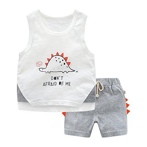 XING GUANG Gilet pour Enfants Set Summer New Top sans Manches pour Enfants Baby T-Shirt Garçons Kidswear,Grey(130cm)