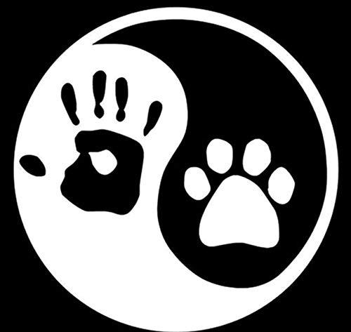 Suwhao 10X10Cm Yin en Yang kat hond voetafdrukken Palm Print notitieboekjes persoonlijkheid venster glas decoratie auto Sticker 2 Stks