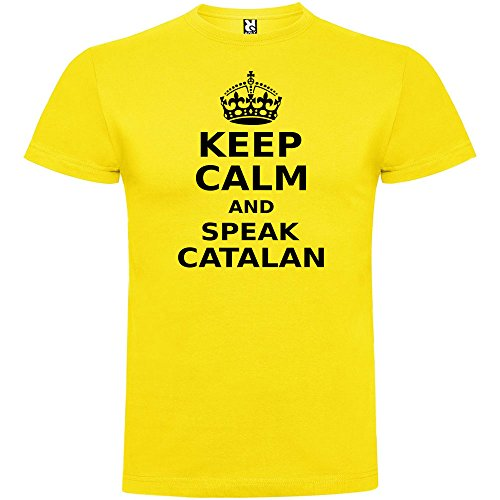 Camiseta Catalunya Keep Calm and Speak Catalan Manga Corta Hombre Amarillo M