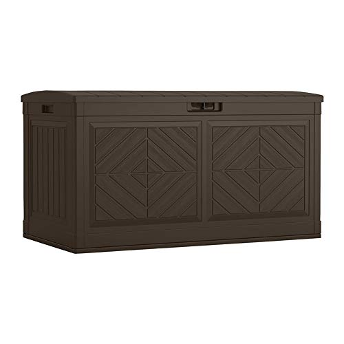 Suncast Baywood 80-Gallon Large Deck Box - Lightweight Resin Outdoor Storage Deck Box for Patio Cushions, Gardening Tools and Toys - Java Brown