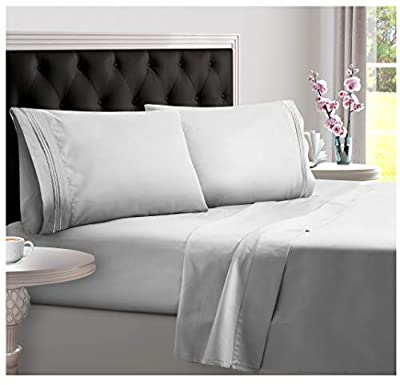 DREAMCARE Deep Pocket Sheets Microfiber Sheets Bed Sheets Set 4 Piece Bedding Sets King Size, Light Gray