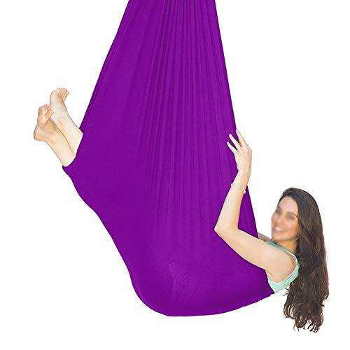 YAWEDA Hamaca Oscilación Columpio Terapia Hamaca Voladora Yoga Columpio Terapia para Niños con Autismo TDAH Ideal para Hamacas Integración Sensorial (Color : Purple, Size : 100x280cm/39x110in)