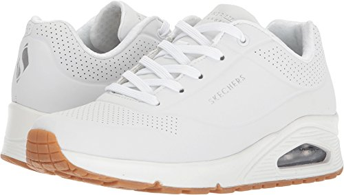 Skechers Uno- Stand On Air, Zapatillas Mujer, Multicolor (Wht Black Durabuck), 39 EU