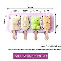 BINGFANG-W アイスクリーム型のアイスキャルズの金型DIY自家製漫画アイスクリームのアイスキャリーのアイスメーカーの台所のための台所のアイスメーカーの金型無料50pcsの木の棒 (Color : 4 link purple)