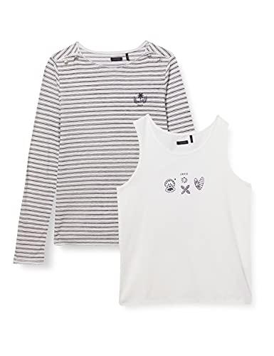 IKKS 2 en 1 tee-Shirt marinière Manches Longues Avec débardeur Camiseta, Blanco...