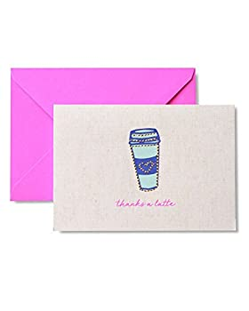 Zoomerang Gold Stitched  Thanks A Latte  Thank You Cards 8 count
