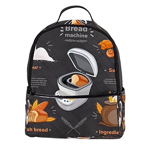 KAMEARI Rucksack für Schule Brotmaschine frisches Brot Mehl Süßigkeiten Casual Tagesrucksack für Reisen mit Flasche Seitentaschen