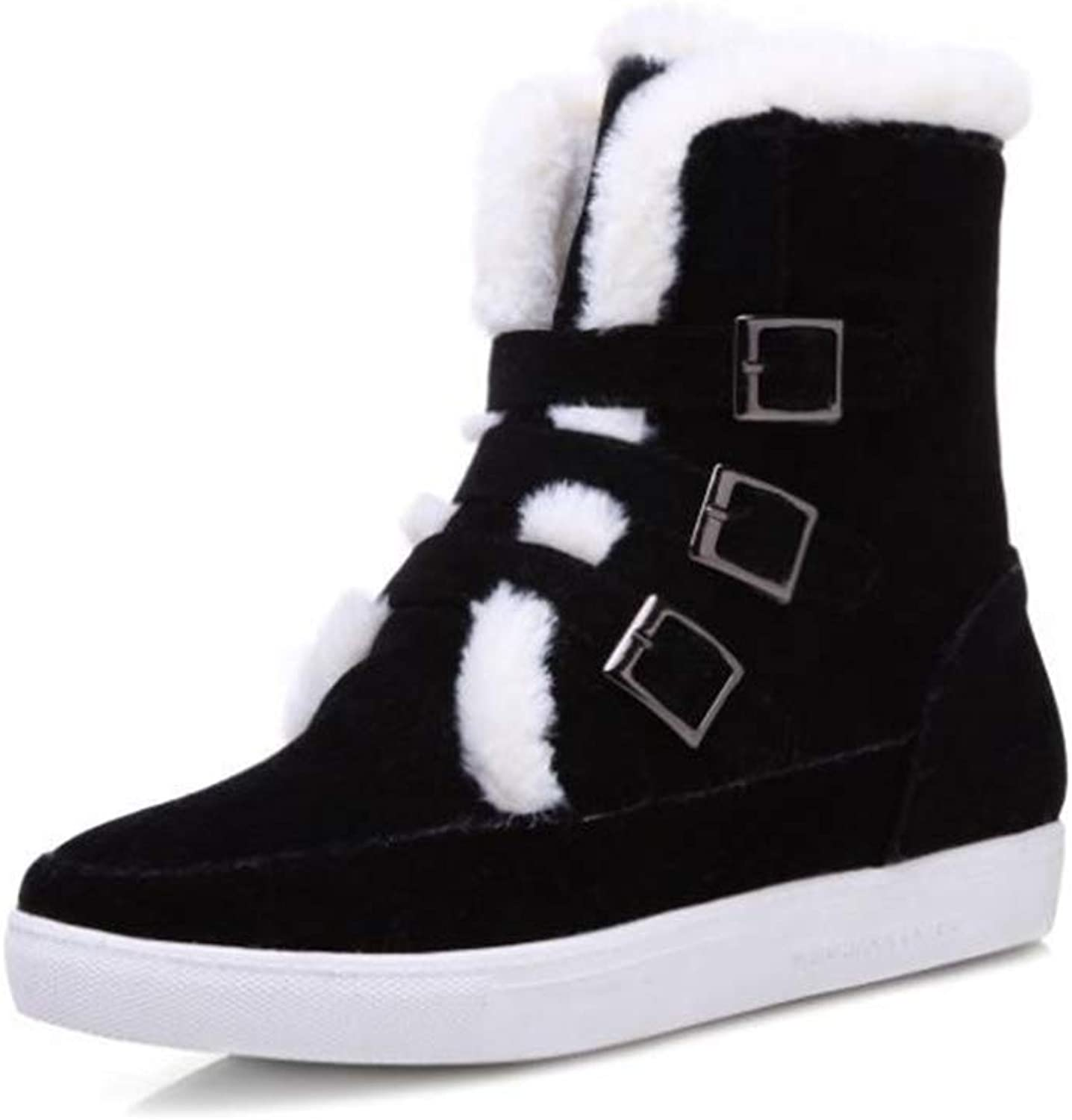 Fancyww Women's Platform Snow Boots Round Toe Thick Boots