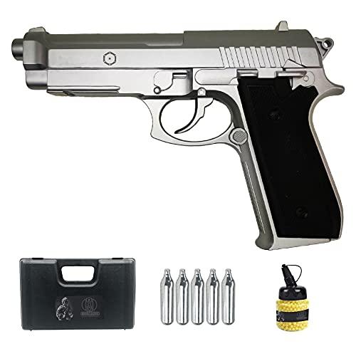 PT92 Plata Full Metal | Pistola de Airsoft (Bolas de 6MM) y CO2. Semiautomática. Tipo Taurus.