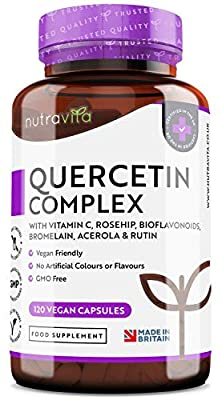 Quercetin Complex with Vitamin C – 120 Vegan Capsules (2 Month Supply) Blended with Rosehip, Bioflavonoids, Bromelain, Acerola & Rutin – Made in The UK by Nutravita