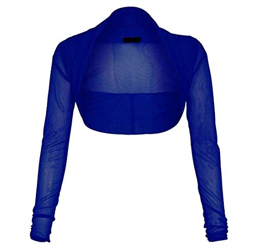 Style Wise Fashion - Cardigan de manga larga para mujer con malla completa Azul azul real 24-26