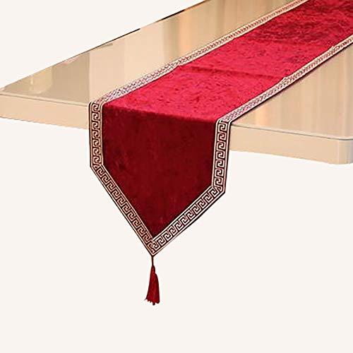 Chemin De Table Rouge, Chemins De Table en Toile De Jute pour Dîner, Noël, Mariage(Color:Une,Size:32×210cm)