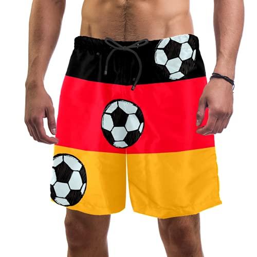 Eslifey Badehose mit Deutschland-Flagge, schwarz, rot, gold, elastisch, Badehose, Boardshorts für Herren Gr. S 7-9, multi
