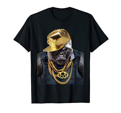 Rapper Gorilla in Gold Kette und Cap Hip Hop Kultur T-Shirt