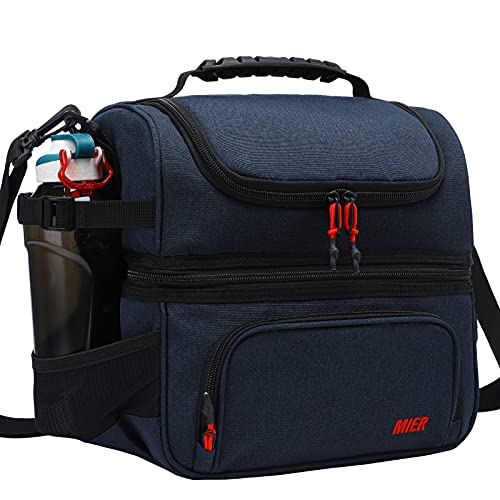 MIER Dual Compartment Lunch Bag Tote with Shoulder Strap for Men and Women Insulated Leakproof Cooler Bag, Dark Blue is $30.59 (15% off)