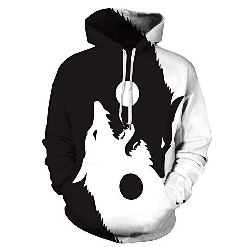 Hip Hop Street Novelty Fun Junior Men's Women's Pullover Hoodies Black White Color Block Lightweight Coat (Ying Yang Balance Wolf, L)