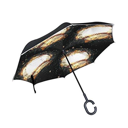 isaoa Große Schirm Regenschirm Winddicht Doppelschichtige seitenverkehrt Faltbarer Regenschirm für Auto Regen Außeneinsatz,C-förmigem Henkel Regenschirm Baseball Regenschirm für Damen und Herren