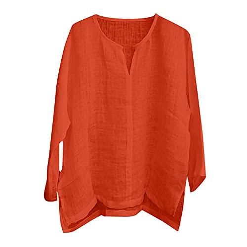 N\P Hombres Color Inicio al aire libre Casual manga larga Camisetas básicas, naranja/fiesta de bloques, Large