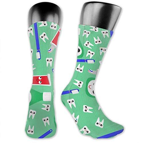 Leuke Tanden Tandpasta Groen Grappige Nieuwigheid Casual Sokken Voor Mannen Vrouwen 3D Print Muti-kleurrijke Patronen Gebreide Knie Hoge Crew Sokken, Lichtgewicht, Slijtvast, Zweetabsorberend