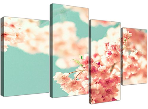 Grande japonés Cherry Blossom Shabby Chic rosa azul floral Lienzo Multi 4 Panel – 4288 Wallfillers