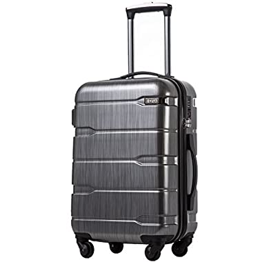 Coolife Luggage Expandable Suitcase PC+ABS Spinner 20in 24in 28in Carry on (Charcoal, S(20in).)