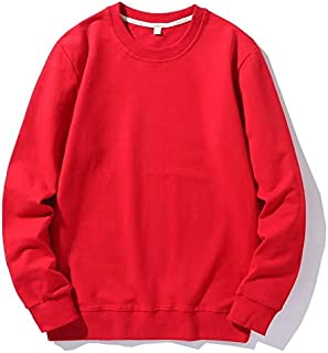 JXSHQS New Cotton Terry Round Neck Sweater Casual Solid Color Loose Long-Sleeved T-Shirt Men and Women Set Head Couple Models Men's Long Sleeve Sweater (Color : Red, Size : 4XL)
