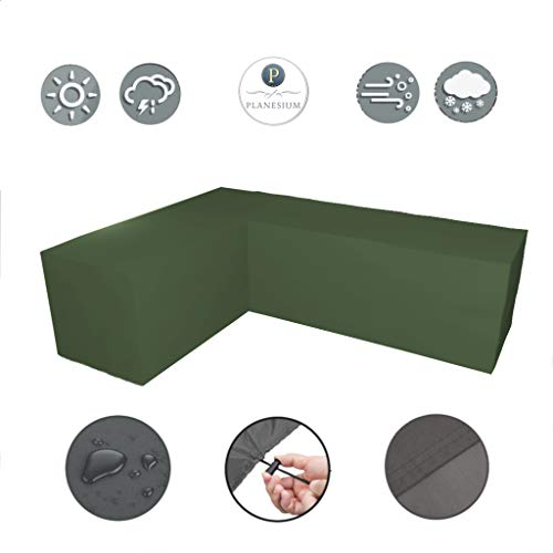 Planesium Premium tuinmeubelen L-vorm lounge meubilair afdekking, balkon outdoor beschermhoes, eetgroep, lounge meubels, set dekzeil, 575 g/m B 270cm x T 270cm x LE 100cm x H 80cm olijfgroen