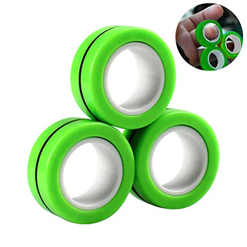Oulian 3 Stück Magnetic Rings Fidget Toy, Magnetischer Armbandring Entpacken Spielzeug, Anti-Stress Magnetic Rings, Zappeln Sie Armbänder & Ringe für Stress & Angst Linderung Performance Toy