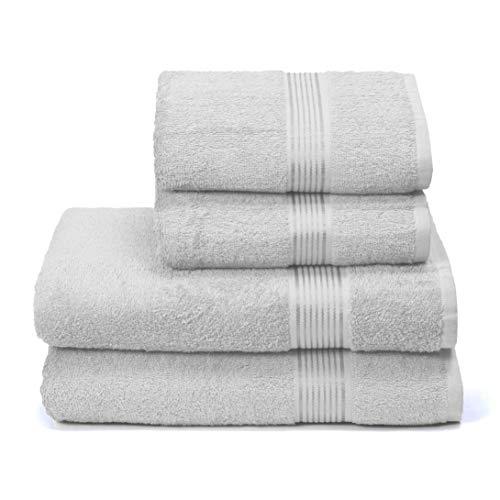 GLAMBURG Ultra Soft 4er-Pack Handtuch-Set, Baumwolle, enthält 2 übergroße Badetücher 70 x 140 cm, 2 Handtücher 50 x 90 cm, für den täglichen Gebrauch, kompakt und leicht — hellgrau