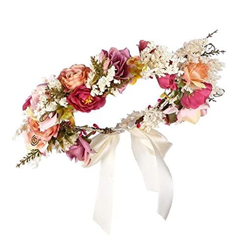 Liadance Fiesta de Navidad romántica de la Boda de Boho Flor de la Corona Floral de la Muchacha de la Venda de la Guirnalda del Tocado de la Guirnalda de la Guirnalda de Halo