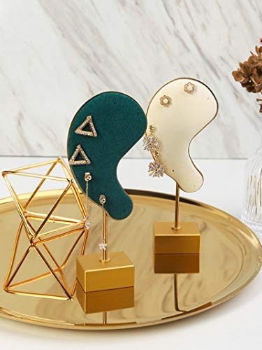 2 piezas un juego Forma de oreja Pendientes de terciopelo de metal Soporte de exhibición Soporte de exhibición de joyería Pendientes Estante de exhibición