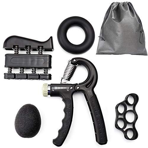Sijihua - Fortalecedor de agarre de mano, entrenador de fuerza de agarre con ejercitador de dedos, estiramiento de dedos, bola de alivio del estrés, anillo de agarre, fortalecimiento de muñeca para hombres y mujeres, negro
