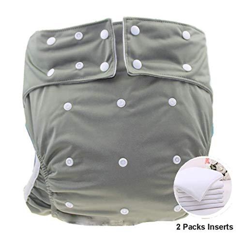 Wiederverwendbar Teen/Erwachsene Tuch Windeln,mit 2 Einsätze für Inkontinenz Care – Dual Opening Pocket waschbar verstellbar leakfree (Color : Gray)
