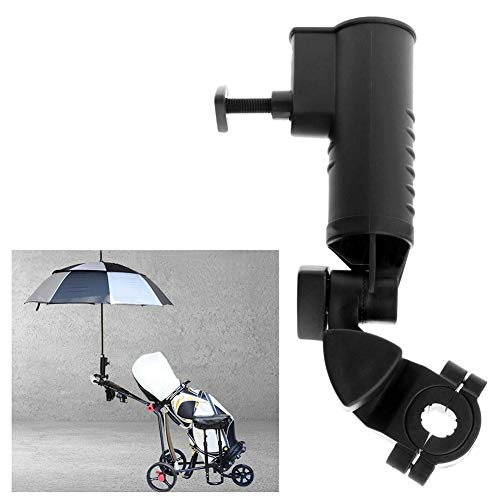Golf-Regenschirmhalter, verstellbarer Golfwagen-Regenschirmhalter, Befestigung universell für Golfwagen, Kinderwagen, Fahrrad, Rollstuhl, Angeln, Strandstuhl, schwarz