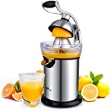 amzdeal Electric Citrus Press, Electric Stainless Steel Orange Press with Lever, Cone, Drip Nozzle, 130W Orange, Lemon and Grapefruit Juicer, Easy to Clean