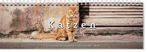 Literarischer Tischkalender Katzen 2019: vierfarbig, 53 Wochenblätter. Format 32 x 10,5 cm