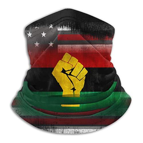 Black Power Pan African USA Flag Winter Neck Warmer Gaiter/Balaclava Ski Face Mask Cover Neck Gaiter Tube, Ear Warmer Headband & Face Mask Hats Headwear for Cold Weather Winter Outdoor Sports