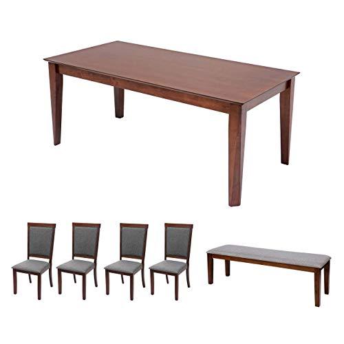 Mendler Esszimmer-Set HWC-G61, Essgruppe Esszimmergruppe Esszimmergarnitur Sitzgruppe, Stoff/Textil Massiv-Holz