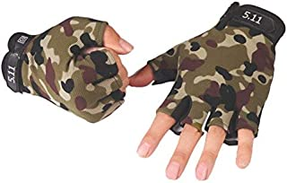 IPENNY Men's Non-Slip Cycling Gloves Half Finger Tactical Airsoft Gloves Shock-Absorbing Breathable Riding Gloves Summer Outdoor Sports Fingerless Gloves for Motorcycle Bike Camping Climbing Hiking