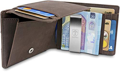 TRAVANDO Cartera con Pinza para Billetes Brisbane Bloqueo RFID - Tarjetero Hombre Slim - Billetero (Marrón)