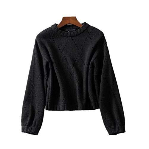 NIGHTMARE Suéteres de Gran tamaño de Punto Sueltos para Mujer Top de Ganchillo Hueco Retro de Mujer suéter Suelto de Cuello Redondo para Mujer