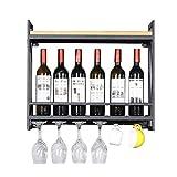 GDSKL Estante para vino 60/80 / 100Cm Soporte para copa de vino montado en la pared Bar/Pub Soporte para botella de vino Gabinete Estilo vintage Estantes para copas de copa de vino,Los 60 × 20 × 52