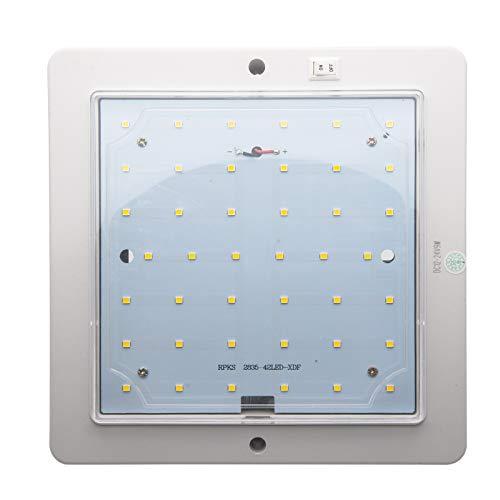 TOTMOX 12-24V 9W cuadrado ahorro de energía LED RV luz de techo, luz de techo interior, luz blanca